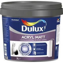 Dulux Acryl Matt 3w1 Superkrycie, Odporność na szorowanie, wydajność do 14m2/l – 3L